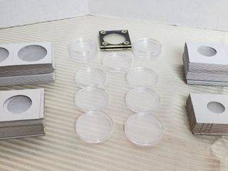 Coin Collecting Supplies   Plastic Coin Holders and Cardboard Window Holders  3 4  1  1 1 4    1 1 2 in  sizes