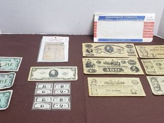 Replica Currency   Confederate Currency  13 Original States Paper Money  3 dollar bill  Miniature Currency  and Disney Dollars