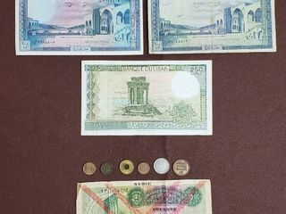 Coins Currency of Middle East   lebanon  Jordan  Syria  Palestine  United Arab Emirates and Israel