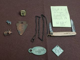 Schatt   Morgan Cutlery Co  Vest Knife w  Chain and other vintage items