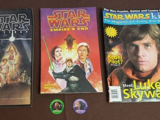 Star Wars Memobilia   3 Magazines and 2 Game Medallions
