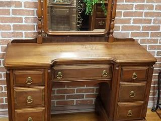Vintage Vanity  48 5 x 18 x 32 in  tall  w Mirror  24 x 40 5 in  Overall Ht  73 in    Bench  24 x 14 x 18 in  tall