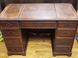Vintage leather Top Desk  44 5 x 23 x 30 in  tall