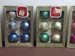 Vintage Glass Christmas Ornaments   4 Boxes of Shiny Brites