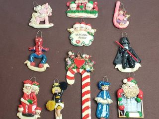 Set of 11 Vintage Polymer Clay Christmas Ornaments