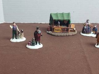 Dept 56 Christmas Heritage Village Series Porcelain Figurines   9 Figurines and Poultry Stand