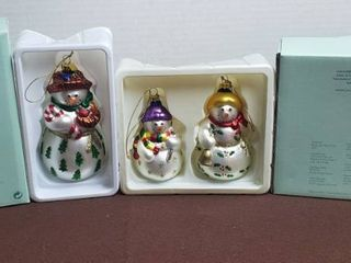 Partylite Snowbell Mom  P7632 and Boy  Girl  P7611 Glass Ornaments