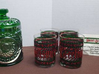 Green Iridescent Imperial Carnival Glass Hobstar Tobacco Candy Jar w  lid  8 25 in  tall  and Set of 2 Vintage SEASON S GREETINGS Glasses
