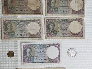 Coins Currency of British Ceylon  Sri lanka    1900s   2 cent coin  1957  25 cent bill  1942   5  one rupee bills  1942 1943    1965 Rupee Coin  and 5 Rupee bill  1942