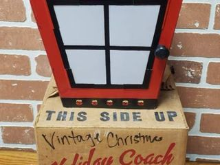 Vintage Holiday Coach lantern   Works   8 x 8 x 9 5 in  tall