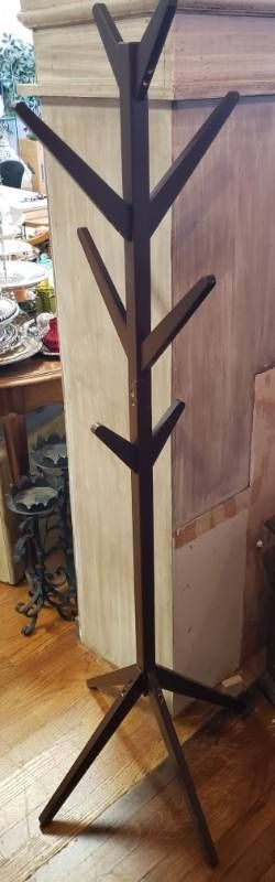 Wood Coat Rack   16 in  wide x 65 in  tall