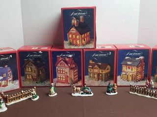 Americana Porcelain Collectable Village  7 Buildings  and Figurines