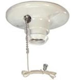 Cooper Wiring Devices 659 SP 660 Watt 250 volt Medium Base Ceiling Receptacle lamp Holder with Pull Chain  Porcelain  White Color