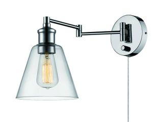 Globe Electric leClair 1 light Chrome Plug In or Hardwire Industrial Wall Sconce  65704