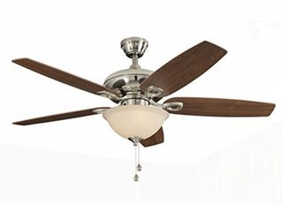 harbor breeze coastal creek 52 in brushed nickel downrod or close mount indoor ceiling fan with light kit