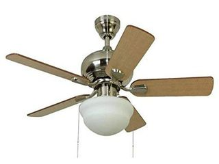 Harbor Breeze Caratuk River 42 in Brushed Nickel Indoor Ceiling Fan with light Kit   Product Is Brand New   Retail Packaging Maybe Opened Or Damaged  Missing Cover