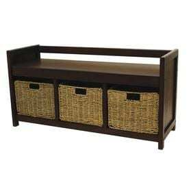 Casual Walnut Storage Bench