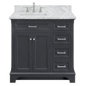 Scott living Roveland Dark Gray Single Sink Vanity with Natural Carrara Marble Natural Marble Top  Common  36 in x 22 in