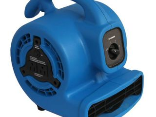 XPOWER P 80A Multi Purpose Mini Mighty Air Mover  Utility Fan  Dryer  Blower with Built in Power Outlets   Blue