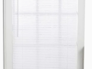 Cordless Mini Blinds White Vinyl Window Coverings 29x64 light Filtering Shade  Set of 2  maybe missing hardware