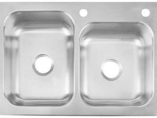 Elkay 33 in X 22 in Satin Double basin Stainless Steel Drop in