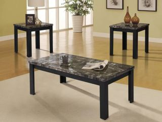 ACME Cara 3 Piece Pack Coffee End Table Set  Faux Marble   Black