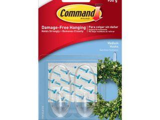 Command Medium Sized Decorative Hooks Clear  SET OF 2