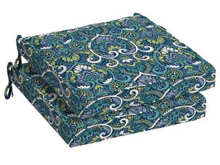 Arden Selections Sapphire Aurora Damask 21 x 21 in  Outdoor Dining Seat Cushion  Set of 2