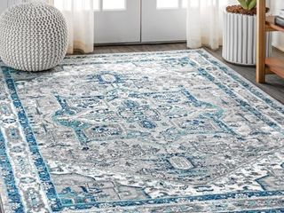 JONATHAN Y Modern Persian Vintage Medallion light Grey Navy Distressed Area Rug Retail 124 99