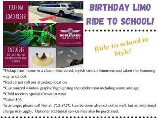 Birthday limo Ride to School