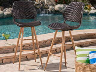 laryn Outdoor Wicker Wood Barstool  Set of 2  by Christopher Knight Home