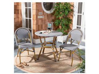 Safavieh Salcha Indoor Outdoor French Bistro Grey  White Stacking Side Chair  Set of 2