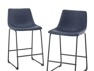 26  Faux leather Counter Stool  Set of 2   Navy Blue