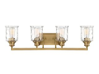 Designers Fountain 96304 BG Drake   Four light Bath Bar Brushed Gold Finish with Clear Hammered