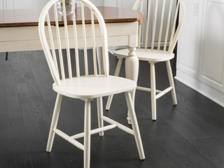 Countryside High Back Spindle Wood Dining Chair Set of 2 by Christopher Knight Home   Antique White