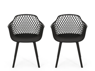 Poppy Outdoor Modern Dining Chair  Set of 2  by Christopher Knight Home