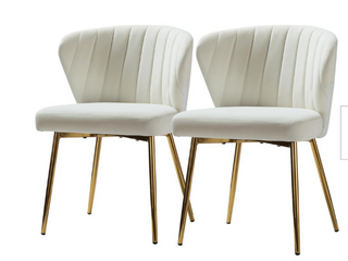 Milia Ivory Tufted Dining Chair Set of 2 by JAYDEN CREATION