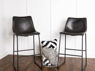 Faux leather Bar Stool in Black  Set of 2