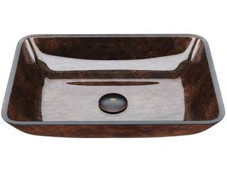 VIGO Russet 18 inch Rectangular Glass Vessel Bathroom Sink  Retail 99 99