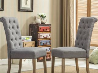 Roundhill Furniture Habit Solid Wood Tufted Parsons Dining Chair  Gray  Set of 2
