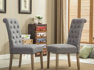 Copper Grove Schwalbach Wood Tufted Parsons Dining Chairs  Set of 2  Retail 148 76