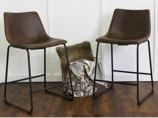Walker Edison 24  Industrial Faux leather Counter Stools  set of 2   Brown