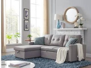 Merax 82 inch Reversible Sleeper Sectional Sofa  Corner Sofa Bed with Storage  Retail 1237 49