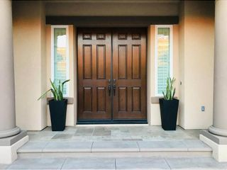28  Kante lightweight Concrete Modern Tapered Tall Square Outdoor Planter Black   Rosemead Home   Garden  Inc