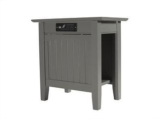 Nantucket Collection AH13319 22  Chair Side Table with 3 Built In Outlets 3 Built In USB Ports Open Bottom Shelf Traditional Style Rectangular