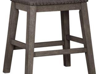 Caitbrook Upholstered Counter Height Bar Stool   Set of 2   Dark Gray  Retail 132 49