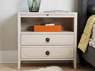 Posh Pollen Grant White Nightstand End Table  Retail 489 99