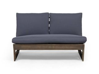 Sherwood Outdoor Acacia Wood loveseat with Cushions by Christopher Knight Home   Gray Finish Dark Gray