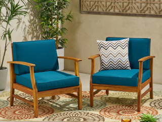 Perla Outdoor Acacia Wood Club Chair with Cushion  Set of 2  by Christopher Knight Home  Retail 366 49