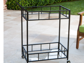 Varadero Outdoor Industrial Modern Bar Cart by Christopher Knight Home